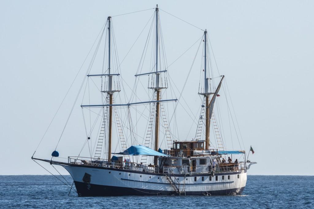 Square-rigged ship at Norman Island
