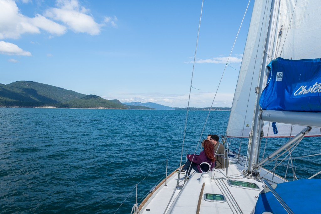 Sailing toward our first anchorage with Cypress Island off the port bow