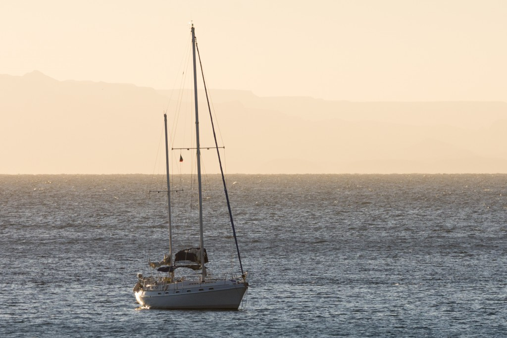 s/v SeaScape at anchor in the evening light